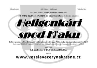 Veselé večery na Krásné – Heligonkári spod Kl'aku – 11.1.2020, 17:00, obecní sál